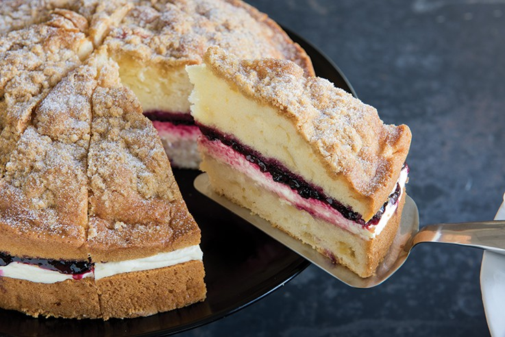 Apple And Blackcurrant Crumble Cake